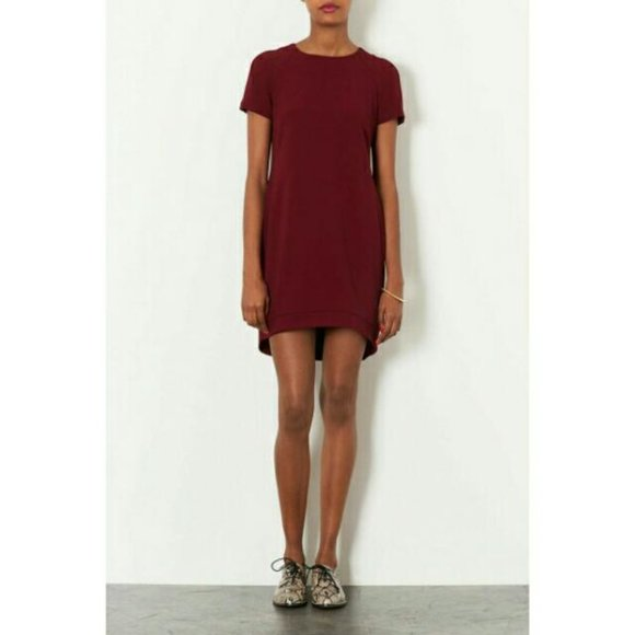 Topshop Crepe Tee Shift Dress Mulberry Size 4